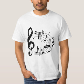 Black musical notes in oval shape t shirt