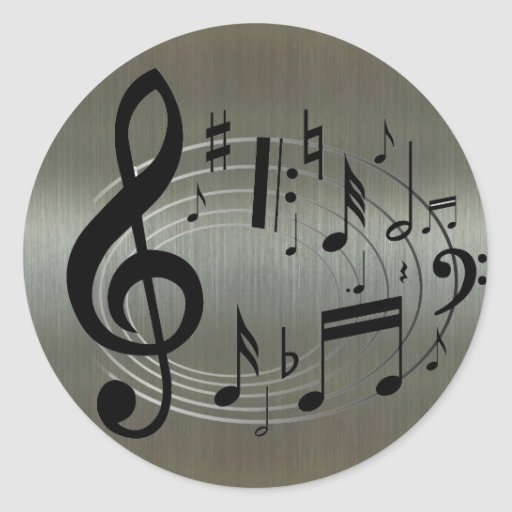 Black musical notes on aluminium background round stickers