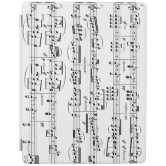 black musical notes on white iPad cover