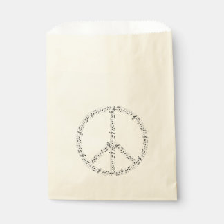 Black Musical Notes Round Peace Sign Favor Bag