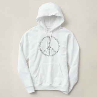 Black Musical Notes Round Peace Sign Hoodie