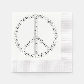 Black Musical Notes Round Peace Sign Paper Napkin