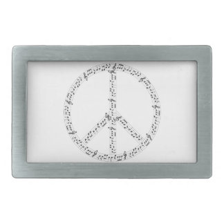 Black Musical Notes Round Peace Sign Rectangular Belt Buckle