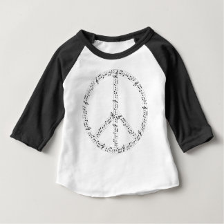 Black Musical Notes Round Peace Sign T Shirt