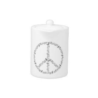 Black Musical Notes Round Peace Sign Teapot