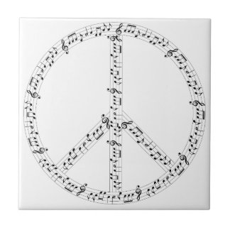 Black Musical Notes Round Peace Sign Tile