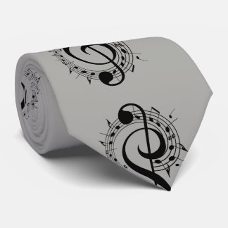 Black Musical Symbols on Grey Neck Tie