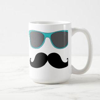 Black Mustache and Aqua Blue Sunglasses Humor Coffee Mug