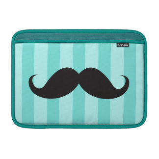 Black mustache and aqua stripes Macbook Air sleeve
