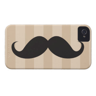 Black mustache and brown stripes iPhone 4 case