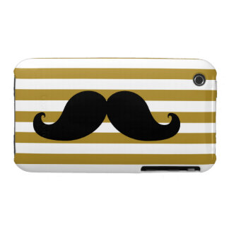 Black Mustache and Gold Stripes iPhone 3 Covers