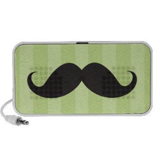 Black mustache and green stripes custom speakers