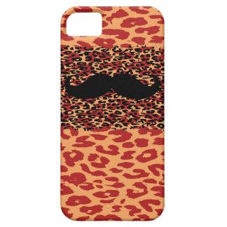 Black Mustache and Leopard Print iPhone SE/5/5s Case