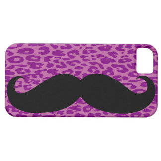 Black Mustache And Purple Leopard Skin iPhone 5 Covers