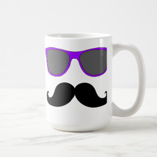 Black Mustache and Purple Sunglasses Humor Coffee Mug