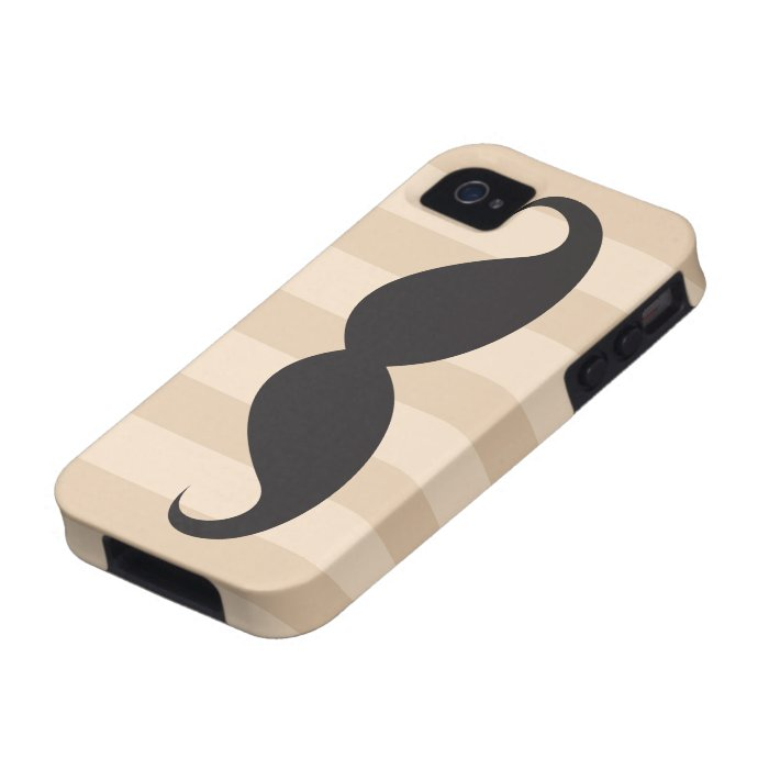 Black mustache and stripes iPhone 4 case
