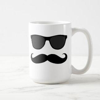 Black Mustache and Sunglasses Humor Coffee Mug