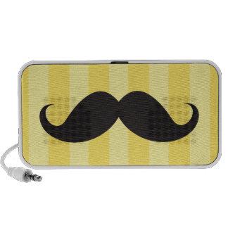 Black mustache and yellow stripes custom speakers