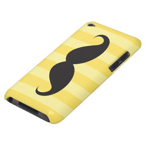 Black mustache and yellow stripes iPod touch case