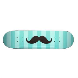 Black mustache aqua stripes  cool skateboard