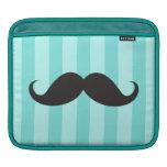 Black mustache aqua stripes funny iPad sleeve