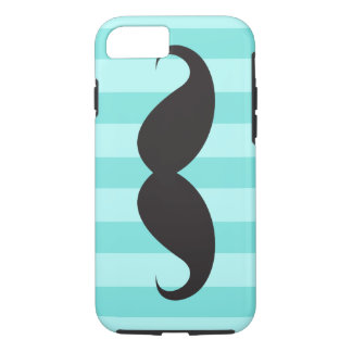 Black mustache aqua stripes iPhone 7 case