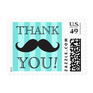 Black mustache aqua stripes thank you postage