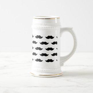 Black Mustache Background Beer Stein