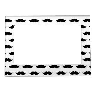 Black Mustache Background Photo Frame Magnets