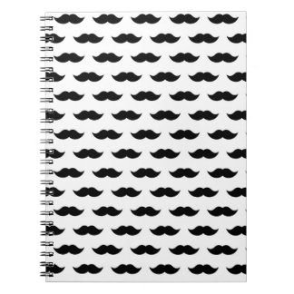 Black Mustache Background Notebook