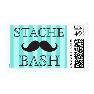 Black mustache bash aqua stripes postage stamps