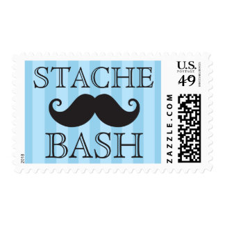 Black mustache bash blue stripes postage stamps