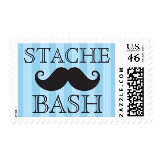 Black mustache bash blue stripes postage stamps