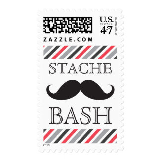 Black mustache bash gray red diagonal postage