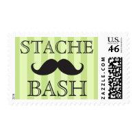 Black mustache bash green stripes postage stamps