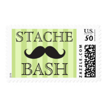 Black mustache bash green stripes postage stamps