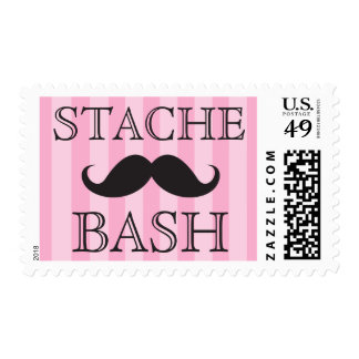 Black mustache bash pink stripes postage stamps