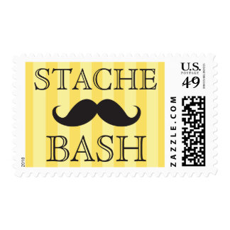 Black mustache bash yellow stripes postage stamps