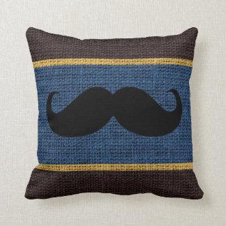 Black Mustache Blue Burlap Jute Background Throw Pillow