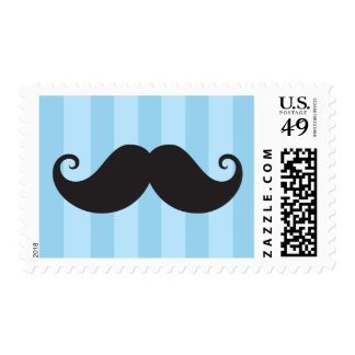 Black mustache blue stripes funny postage stamp