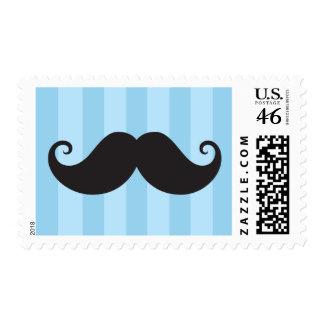 Black mustache blue stripes funny postage stamp