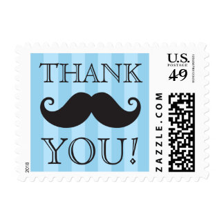 Black mustache blue stripes thank you postage