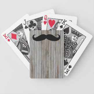 Black Mustache Corrugated Metal Playing Cards
