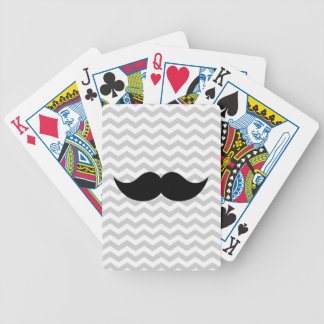 Black Mustache Gray Chevron Stripe Bicycle Playing Cards