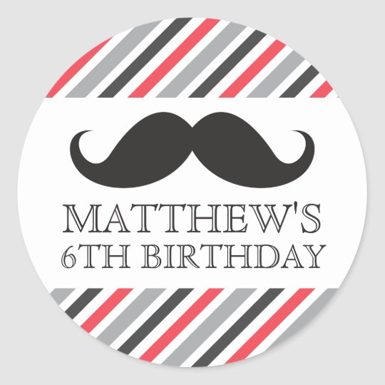 Black mustache gray red stripes birthday party classic round sticker
