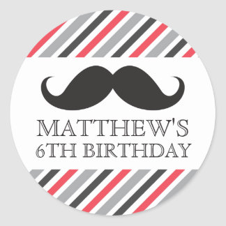 Black mustache gray red stripes birthday party stickers