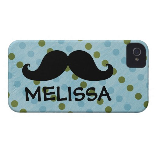 Black Mustache Green Blue Polka Dots Name iPhone 4 Case