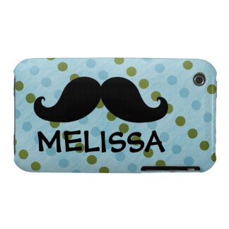 Black Mustache Green Blue Polka Dots Name iPhone 3 Cover