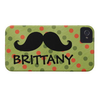 Black Mustache Green Red Polka Dots Name iPhone 4 Case-Mate Cases