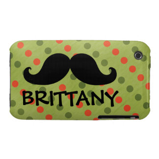 Black Mustache Green Red Polka Dots Name Case-Mate iPhone 3 Case